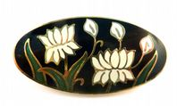 Vintage Sea Gems White Cyclamen Flower Cloisonne Enamel  Brooch.